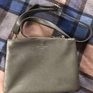 墨綠三層可拆式肩背包 手拿包