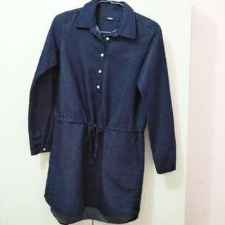 全新/Spao襯衫式連身綁帶洋裝連身裙