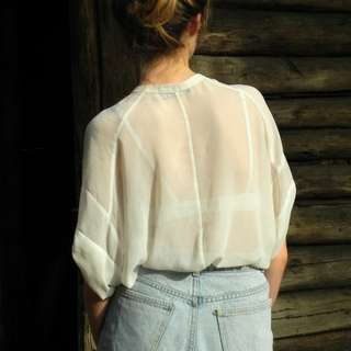Sheer white flowy shirt