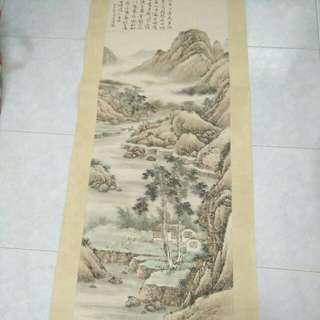 Painting18寸x52寸沈士充山水中堂