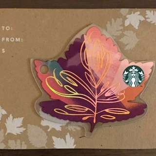 Starbucks autumn maple card 限量版楓葉形狀卡1張 韓國同款