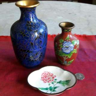 2 Vintage Cloisonne Vases N A Saucer