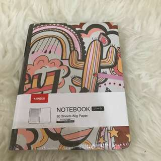 Miniso notebook pink comes with pen