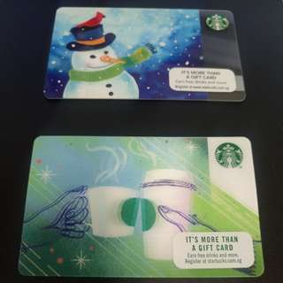 Used Singapore starbucks cards. Snowman and moving mugs designs.