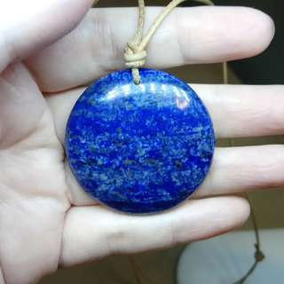 Lapis Lazuli Gemstone Leather necklace pendant natural