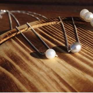 黑/白珍珠頸錬 white black pearl necklace