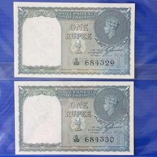 India King George 1 Rupee Year 1940 UNC (2Run)
