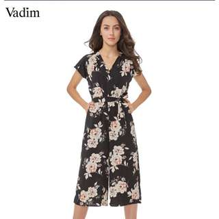 Jumpsuit Vadim vintage V neck floral wide leg pants