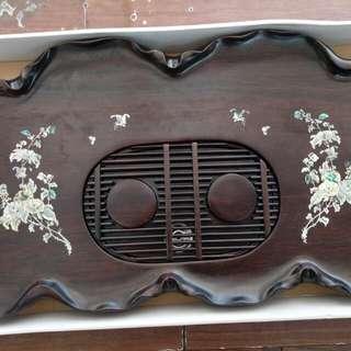 實木貝殼鑲製茶盤