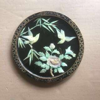 "12"" Vintage lacquer sea-shell Chinese art handicraft peonies birdsm"