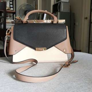 DUNE Nude & Black Satchel (Large)