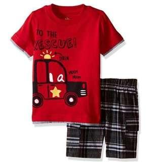 Kids Headquarters Little Boy Jersey Tee With Plaid Cargo Short 2pcs Set 12 Mths!