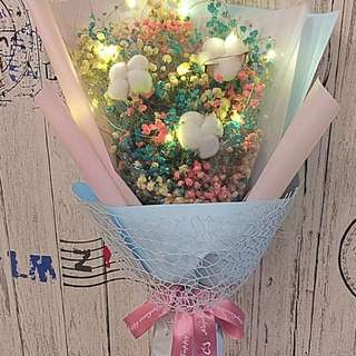Valentine's Flower : Large Dried Baby Breath Bouquet with Dried Cotton Flowers LED Lighting (size :Ht 56cm x w33cm)