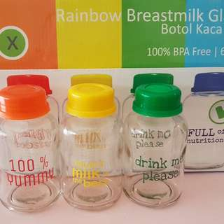 USED - 6pcs of Rainbow Breastmilk Glass Bottles