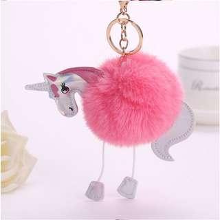 Gantungan Kunci Cute Fluffy Unicorn Pom Poms Faux Rex