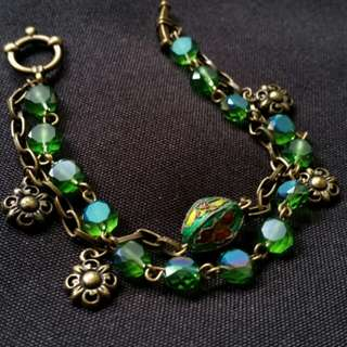 Green Crystal and Gold Layered Bracelet