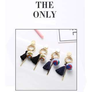 Anting Classic Ethnic Embroidery Ball Drop