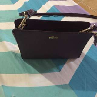 authentic lacoste chantaco leather sling bag