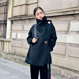 Minimei追加款✪韓系韓版歐美風名媛風百搭大金扣黑色寬鬆斜門襟毛呢外套設計感系帶氣質呢大衣女