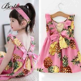 💋Korean Kid's Wear Pineapple Ribbon Dress 💫Crepe type, thick stretch  💫Back ribbon design  💫Free size fits up to 8 yrs old  💫Single color