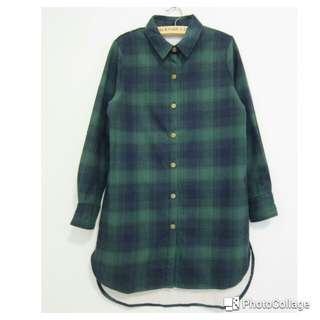 藍綠格紋加厚毛絨溫暖長版襯衫