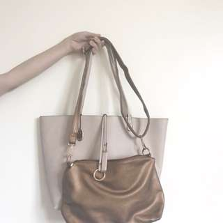 CMG: 2in1 bag (Pastel nude pink bag and bronze cross body bag)