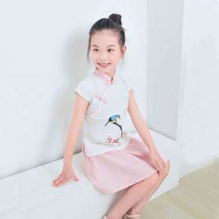 2pc Chinese Top with Bird Perched on Tree and Skirt Set