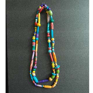 Multi-colour wooden beads necklace