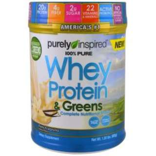 Purely Inspired, 100% Pure Whey Protein & Greens, French Vanilla, 1.5 lbs (680 g)