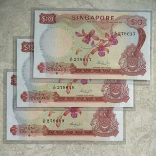 3 PCS SINGAPORE $10 ORCHID HSS WITHOUT SEAL A/91 278617-19 RUN UNC