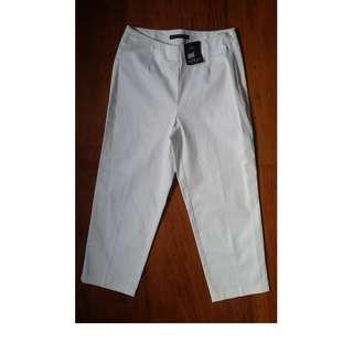 BF: Marks & Spencer Slim Cotton Stretch Cropped Pants  sz 6 White