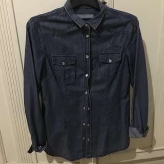 Massimo Dutti Denim Long Sleeve Shirt