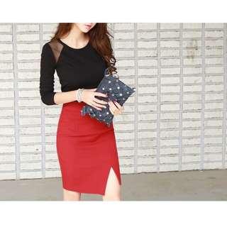 (🇯🇵私物出清)高腰包臀紅色窄裙開衩半身裙西裝裙 全新