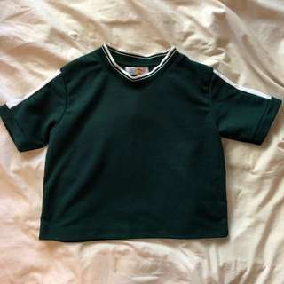 Green and White Cheep Crop Top