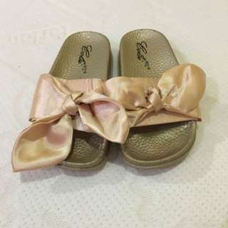 Golden Bow Slippers