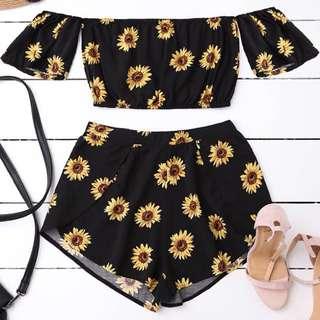 Sun flowers sabrina & pants