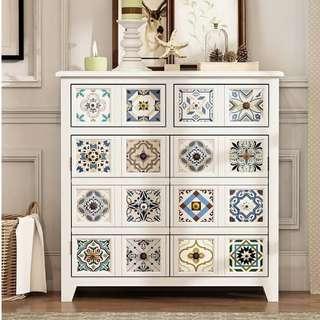 TAZU推介復古白色實木拼花摩洛哥鞋櫃