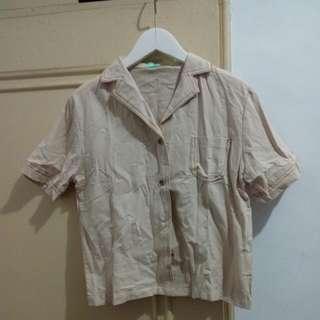 復古西裝領單口袋棉麻襯衫