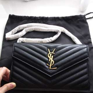 Free Shipping Brand New Monogram YSL Chain Wallet in Black Textured Mattlasse Leather