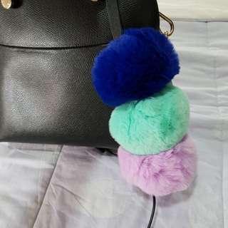 Zara triple pompom fur bagcharm keychain