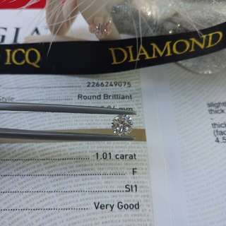 💎Diamond ICQ💎👰情人節為摯愛送上驚喜😁GIA 1.01 F SI1 VG EX EX NON💥 求婚推介 💥