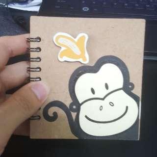 Cute monkey mini notebook
