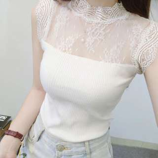 BN white Knit Lace Collar top