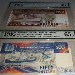 $100-Ship 1st Prefix.A/1-310245.PMG66EPQ. $50-SHIP 1STSERIES.LIGHT BLUE.PMG65EPQ 2PCS($700) NETT.