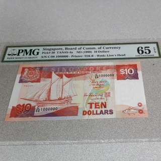 $10-SHIP NON AUUCTION PC.SIGN HTT. SERIAL 1MILLION.PMG65EPQ.