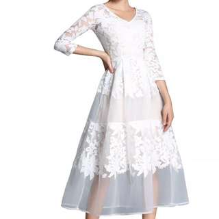 Dress putih kembang uk xs s m dan l