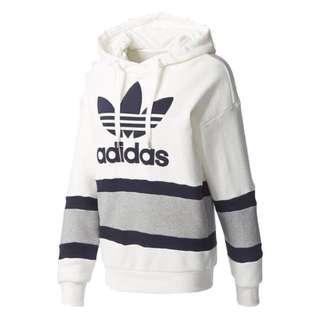 Adidas 全新三葉草Logo白底條紋連帽運動帽T
