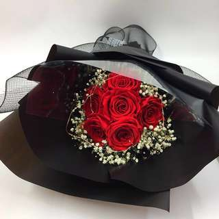 Preserved Fresh 6 Stalk Roses Bouquet with LED lighting (Lasting for 365days!) Size : Ht60x36cm