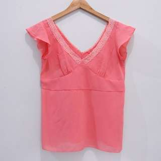 AN5234 BLOUSE UCANSEE CANDY PINKY GIRLS VNECK LACE BAGUS IMPOR MURAH