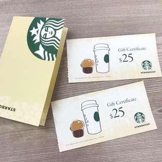 Starbucks $25 禮卷連卡